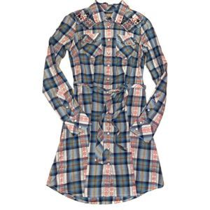 GUESS Vintage Flannel Inspired Embroidered Dress